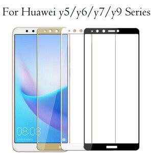 Защитное стекло на huawei y9 y7 y6 y5 prime 2018 защита экрана закаленное Броня y 5 6 7 9 huavei hauvei 6y 7y 9y y6 prime