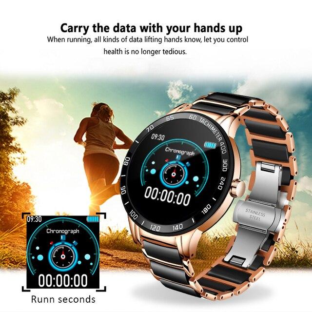 LIGE 2020 New Men Smart Watch Blood Pressure Round Ceramic Strap Smartwatch Women Watch Waterproof Sport Tracker For Android Ios 4
