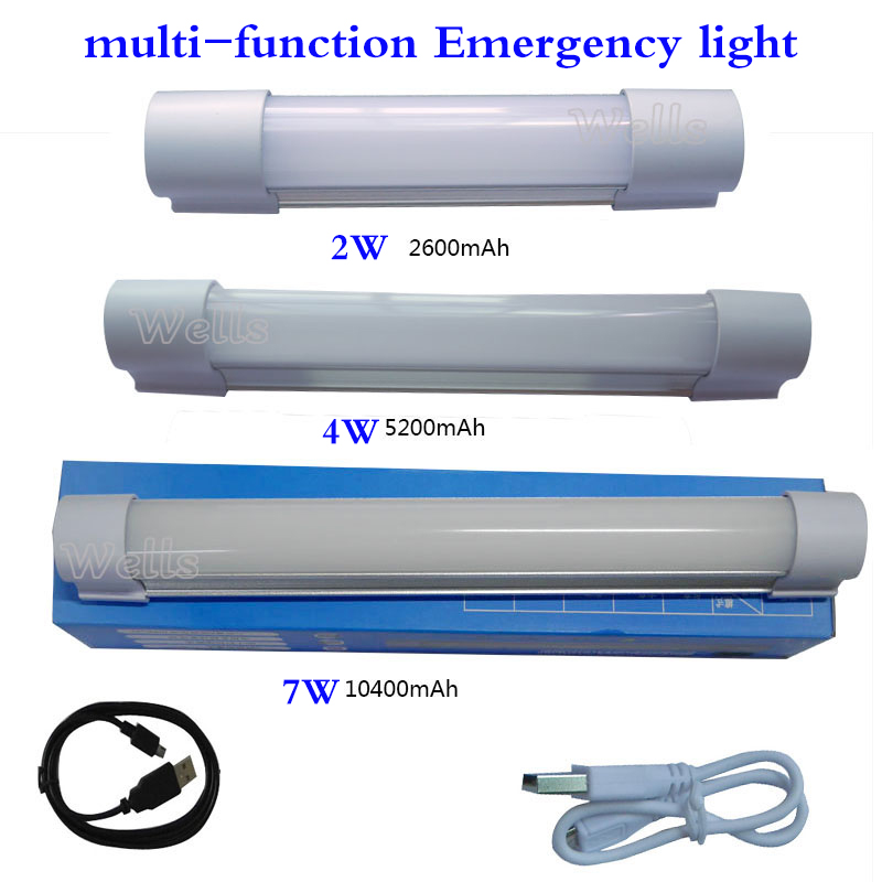 5V USB 2W 4W 7W Multi-function Emergency Light 2600/5200/10400mA 5 Mode For Indoor Outdoor Led Camping Bulb Can Charge For Phone