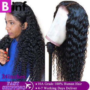 Indian Deep Wave Human Hair Wig 360 Lace Frontal Wig 150% 180% Density With Baby Hair Pre-Plucked Remy Natural Wig For Women(China)