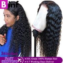 Peluca de cabello humano indio de ondas profundas, 360 de encaje Frontal, 150% de densidad con cabello de bebé, prearrancado, Remy Natural, para mujeres