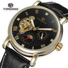 Forsining hand wind watch Hollow Engraving Black Gold Case Leather mechanical skeleton watch Watches Men's nibosi Luxury Brand