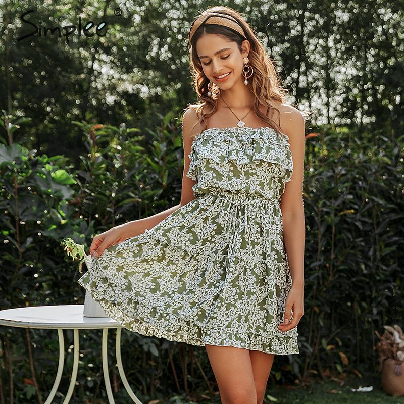 Image 5 - Simplee Sleeveless floral print tube dress Women sexy high wasit ruffled mini dress Casual lady chic beach holiday summe dressDresses   -