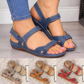 2020 kobiety casualowe sandały miękkie 3 kolory Patchwork sandały damskie wygodne sandały na płaskim obcasie z wystającym palcem buty na plażę kobieta obuwie tanie i dobre opinie Podstawowe Plac heel Otwarta Mieszkanie (≤1cm) Na co dzień Hook loop Pasuje prawda na wymiar weź swój normalny rozmiar