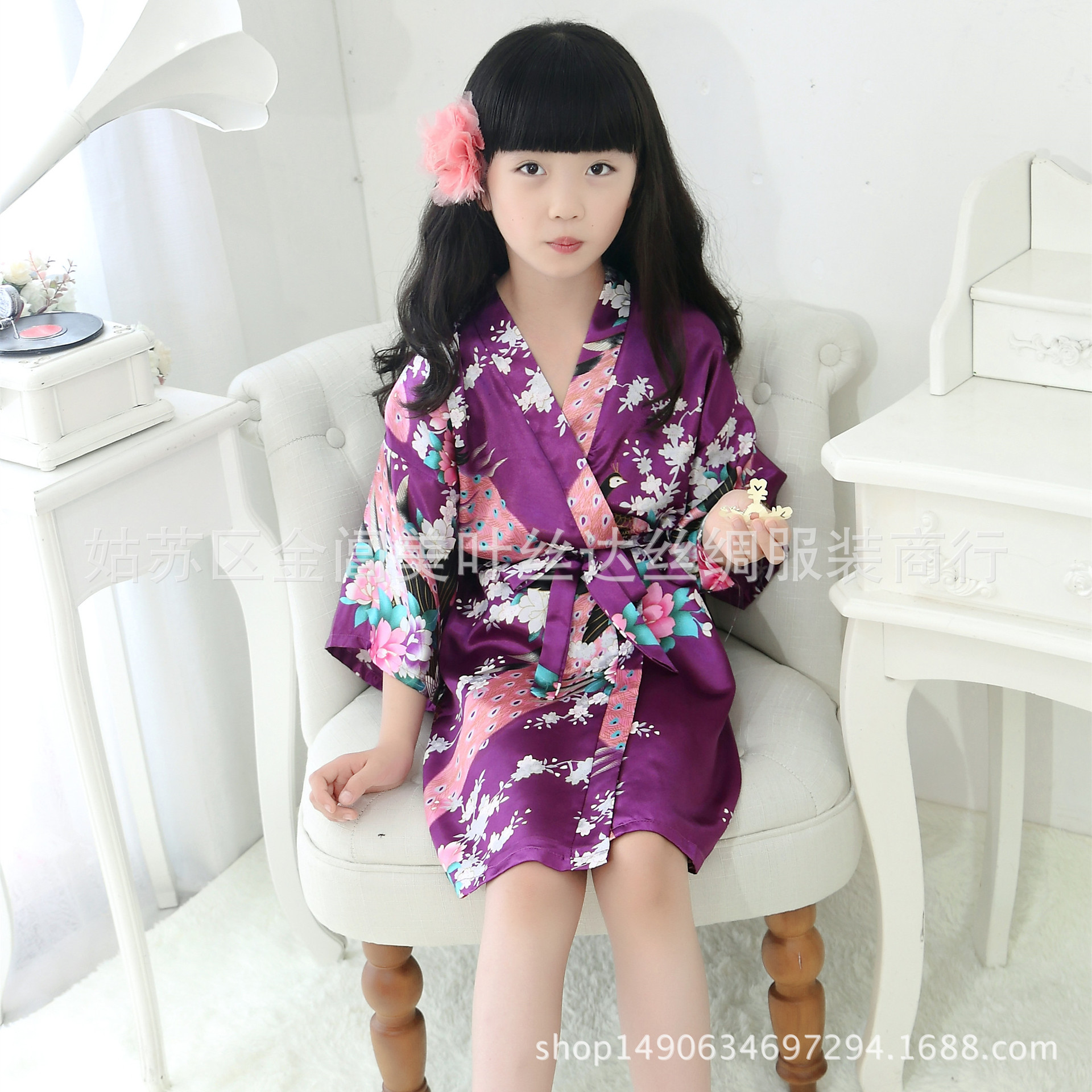 Silk Children One-Piece Peacock Kimono Robe Nightgown Pajamas AliExpress Hot Selling