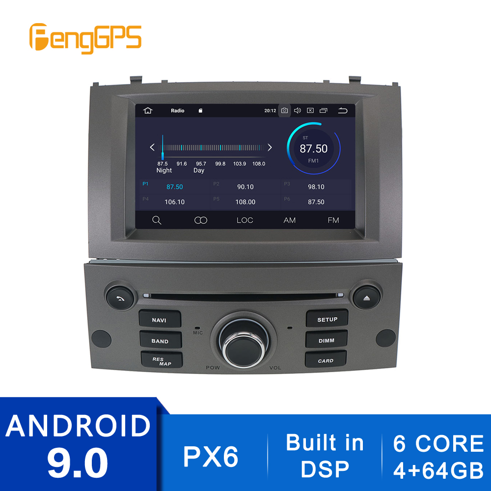 In-dash GPS Navigation CD DVD Player for Peugeot 407 2004-2010 Android 10.0/9.0 2 Din Car AM <font><b>FM</b></font> Radio Multimedia 8Core Headunit image