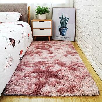 Alfombra sencilla de estilo nórdico para dormitorio, alfombra gruesa rectangular con degradado...