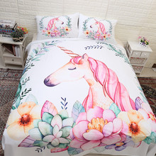 Cute Unicorn Floral Bedding set girl cartoon pink unicorn Quilt Cover Twin queen king size Bedclothes Bed room 3pcs dropshipping
