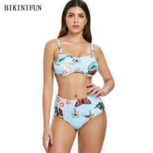 New Sexy Floral Print Bikini Women Swimsuit Sky Blue Bathing Suit S-2XL Girl High Waist Swimwear Padded Micro Set