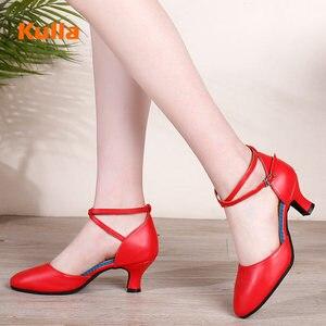 Image 2 - Salsa chaussures de danse latine femmes rouge bout fermé dames chaussures de danse de salon femme talons moyens 3.5cm/5.5cm Tango chaussures de danse