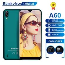 Blackview a60 smartphone, 4080mah 1gb + 16gb quad core android 8.1 6.1 polegadas 19.2:9 tela 13.0mp câmera traseira dupla 3g