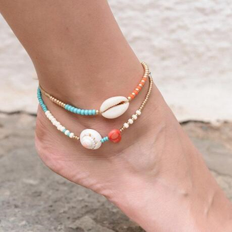 Bohemian Layered Conch Shell Pendant Chain Ankle Bracelet on Leg Foot for Women Boho Handmade Beaded Chain Anklets Jewelry