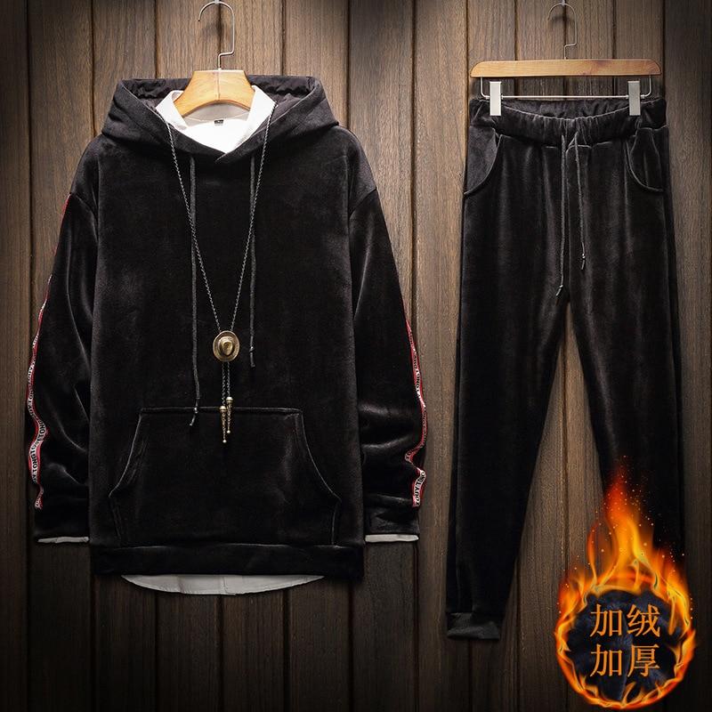 Plus Golden Velvet Tracksuits Men Set Hooded Thicken Fleece Hoodies + Sweatpant Fashion Warm Men Sweat Suit Set No Accessories