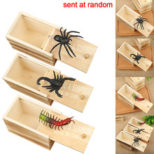 1-2pcTricky Toy Wooden Halloween Prank Funny Spider Scorpion Insect Scary Surprise Box Props Decorations
