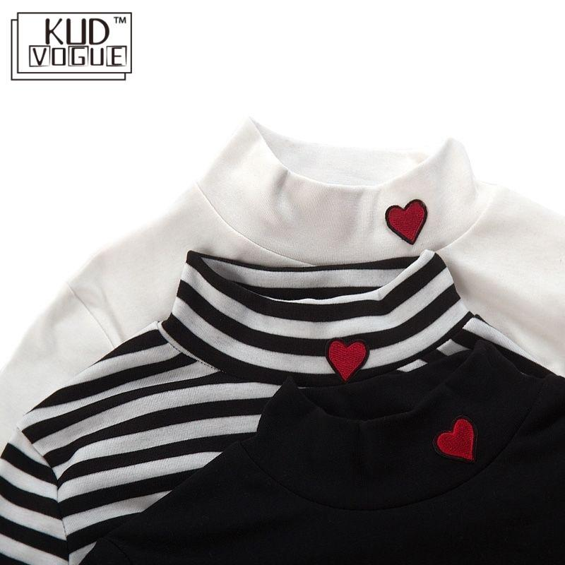 Korean Ulzzang Stripe Tops & Tees Small Mock Neck Harajuku Kawaii Women T Shirt Heart Embroidery Candy Color Crop Long Sleeve