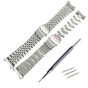 Image 1 - 22 mm נירוסטה להקת שעון צמידי מעוקל סוף החלפה עבור Seiko SKX007 SKX009 SKX011 DIY להחליף רצועת השעון