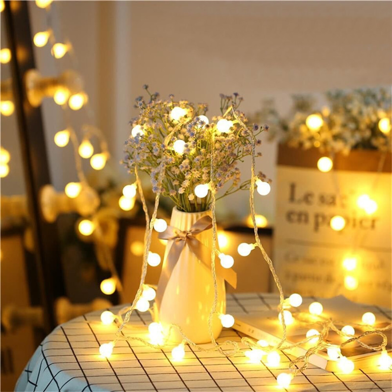10m/20m/30m/50m Christmas Lights Outdoor LED String Light Garland Globe Ball Lamp Wedding Party Home Decoration Holiday Lighting