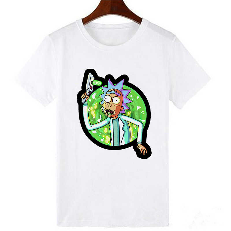 Showtly 2019 mannen Rick en Morty Grappige Anime T-shirt Casual Korte mouw O-hals homme Zomer Witte t-shirt Swag tshirt