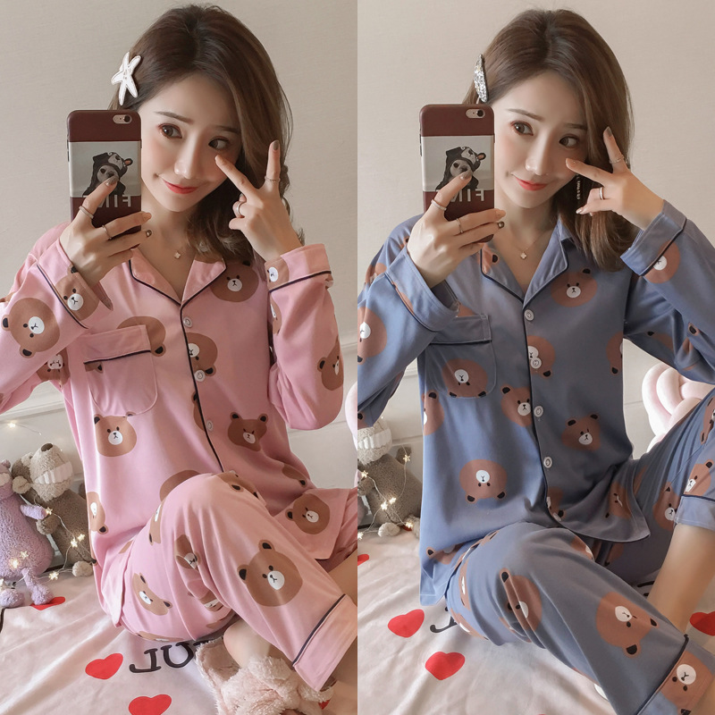 [Htc Sheng] Spring And Autumn Pajamas WOMEN'S Cardigan Long Sleeve Tracksuit Loose-Fit Set M-XXL Original Photo Shoot