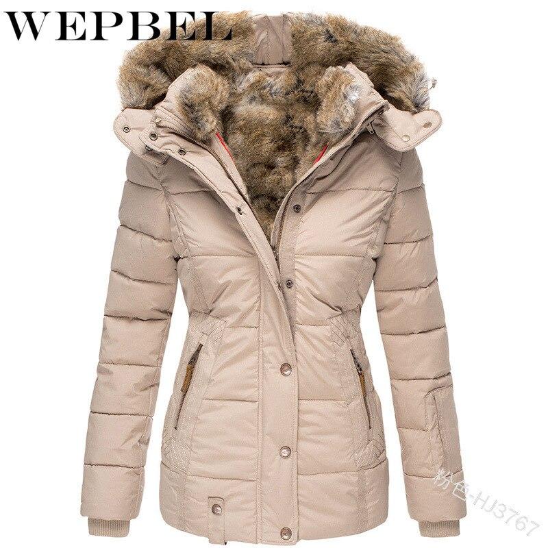WEPBEL Women Regular Slim Solid Color Jackets Female Thicken Lapel Collar Autumn Winter Zipper Elegant Casual Fur Woolen Coats