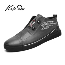 Buy KATESEN Men Shoes Genuine Leather Shoes Fashion casual shoes For Men handmade shoes soft Breathable Big Size Comfort Loafers directly from merchant!