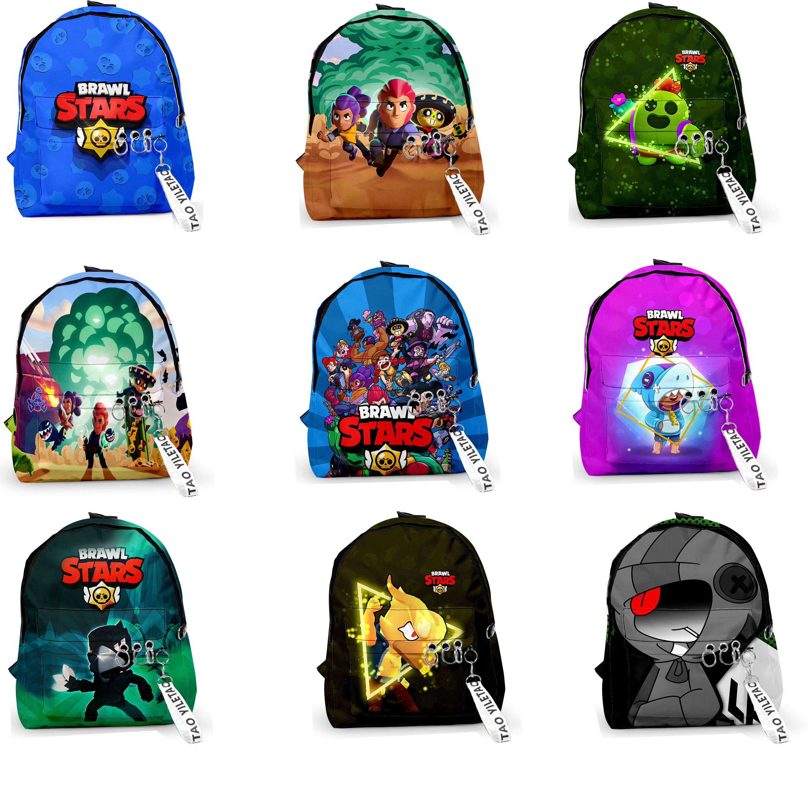 BrawlING Game Cartoon Star Heroes School Bag Figure Model Spike Shelly Leon PRIMO MORTIS Backpack Toys Gifts For Boys Girls Kids
