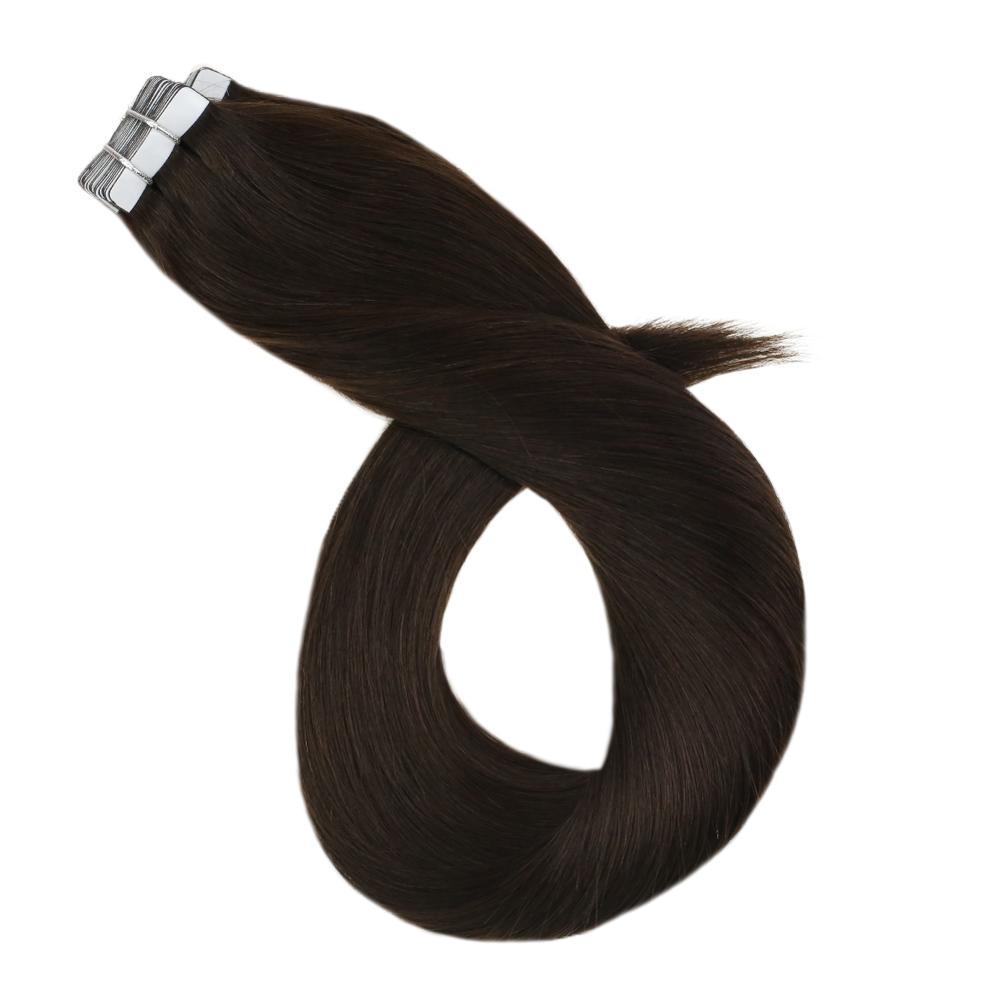Пряди для наращивания, шелковистые прямые волосы для наращивания, 12-24 дюймов, 15-100 г, двусторонняя лента, натуральные волосы remy для