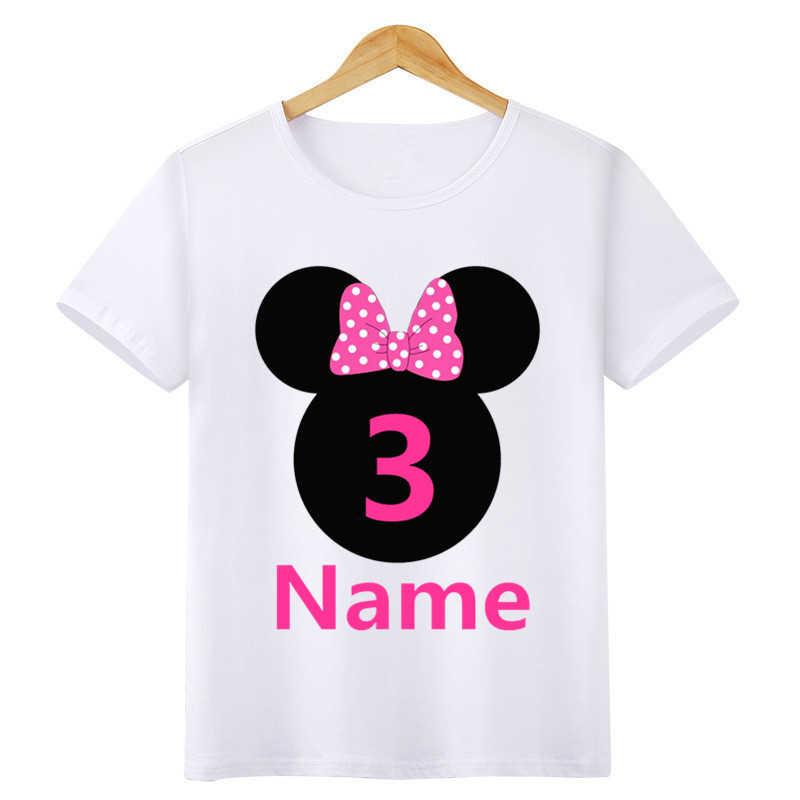 เด็กทารกสาววันเกิดการ์ตูน T เสื้อเด็กผ้าฝ้ายขนาด 1 2 3 4 5 6 7 ปีเด็กเสื้อผ้าเสื้อยืดฤดูร้อน Tees สำหรับของขวัญ