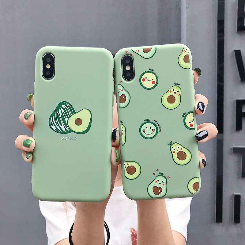 Matte Phone Cases For iPhone 11 Pro 6 6S 8Plus X XR 7Plus XS Max Cute Avocado Funny Dinosaur Soft Silicone Candy Case Capa Coqua
