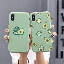 Matte Telefon Fällen Für iPhone 11 Pro 6 6S 8Plus X XR 7Plus XS Max Nette Avocado lustige Dinosaurier Weiche Silikon Candy Fall Capa Coqua(China)