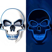 Halloween EL Wire Woven Light Up Mask Glowing Cosplay Costume For Festival Party Masquerade Props