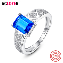 AGLOVER Luxury Large Zircon Ring For Women's Engagement Wedding 925 Sterling Silver Ring Fashion Charm 2019 New Jewelry