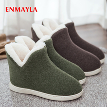 ENMAYLA Round Toe Slip-On Snow Boots Flock Flat Womens Shoes Solid  Plush Shallow Women Large Size Multi-color Optional