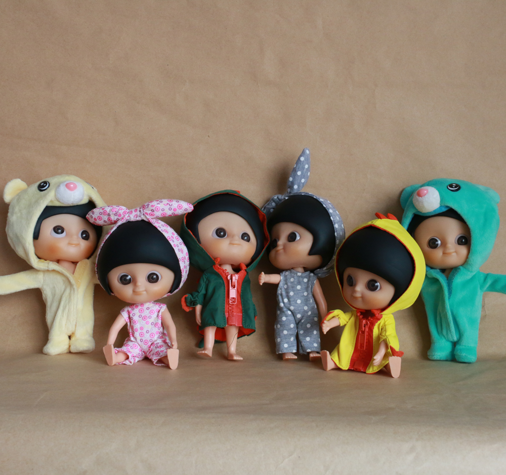 Fashion Lovely IXDOLLS Blyth Big Eyes Heads In Clothes Doll Bear Dinosaur Factory Action Figure Mini Cute Girl Gift