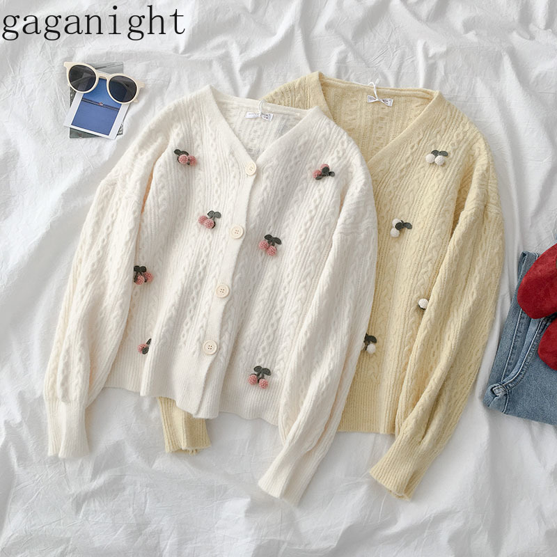 Gaganight Embroidery Women Cardigan Appliques Cherry Sweet Girls Kardigan Solid Spring Autumn Female Cardigans Single Breasted