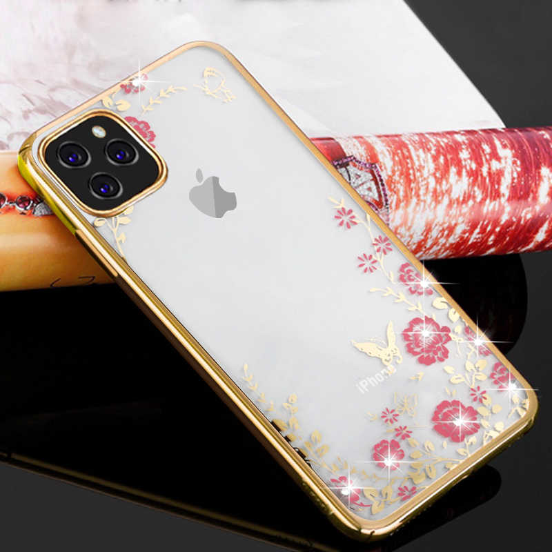 Glitter Diamond Flower Case For iPhone Xs Max XR X 7 8 Plus 6 6s 11 Pro Phone Case Luxury Crystal Clear Soft Silicon Back Cover