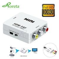HDMI-compatible TO AV Scaler Adapter HD Video Composite Converter Box HD to RCA AV/CVSB L/R Video 1080P Support NTSC PAL 1