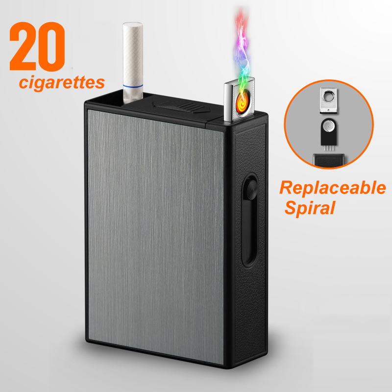 Cigarette Holder Box USB Electronic Lighter Flameless Windproof <font><b>Tobacco</b></font> Cigarette <font><b>Case</b></font> Lighter Rechargeable Cigarette Accessory image