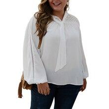 Plus Size Blouse Women Fall Puff Sleeve Blusa Feminina Chiffon White Blouses Fashion Bow Tie camisas mujer Elegant Ladies Top 30 цена 2017