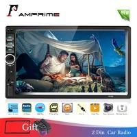 AMPrime 2 Din Car Radio In Dash 2din 7 Autoradio USB AUX FM Multimedia Player Support Mirror Link Camera HD Audio Stereo 7018B