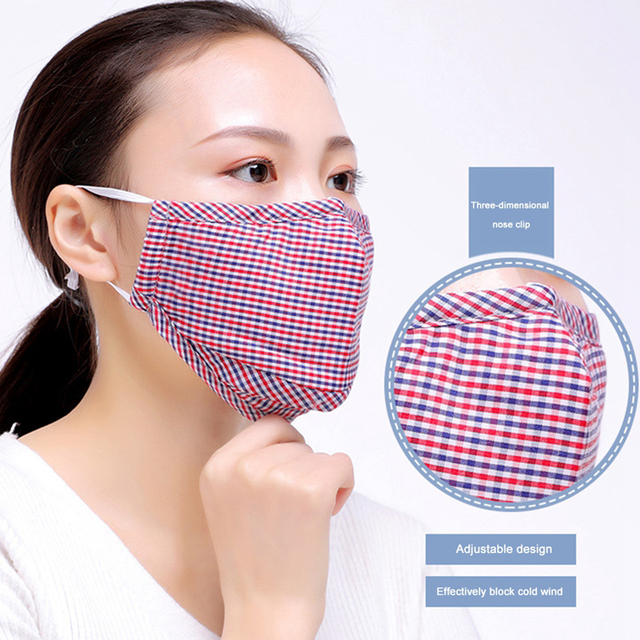 3/4pcs Cotton Mouth Mask Reusable Dust Flu PM2.5 Face Masks Activated Carbon Filter Windproof Adjustable Ear Strap 20*13cm 1