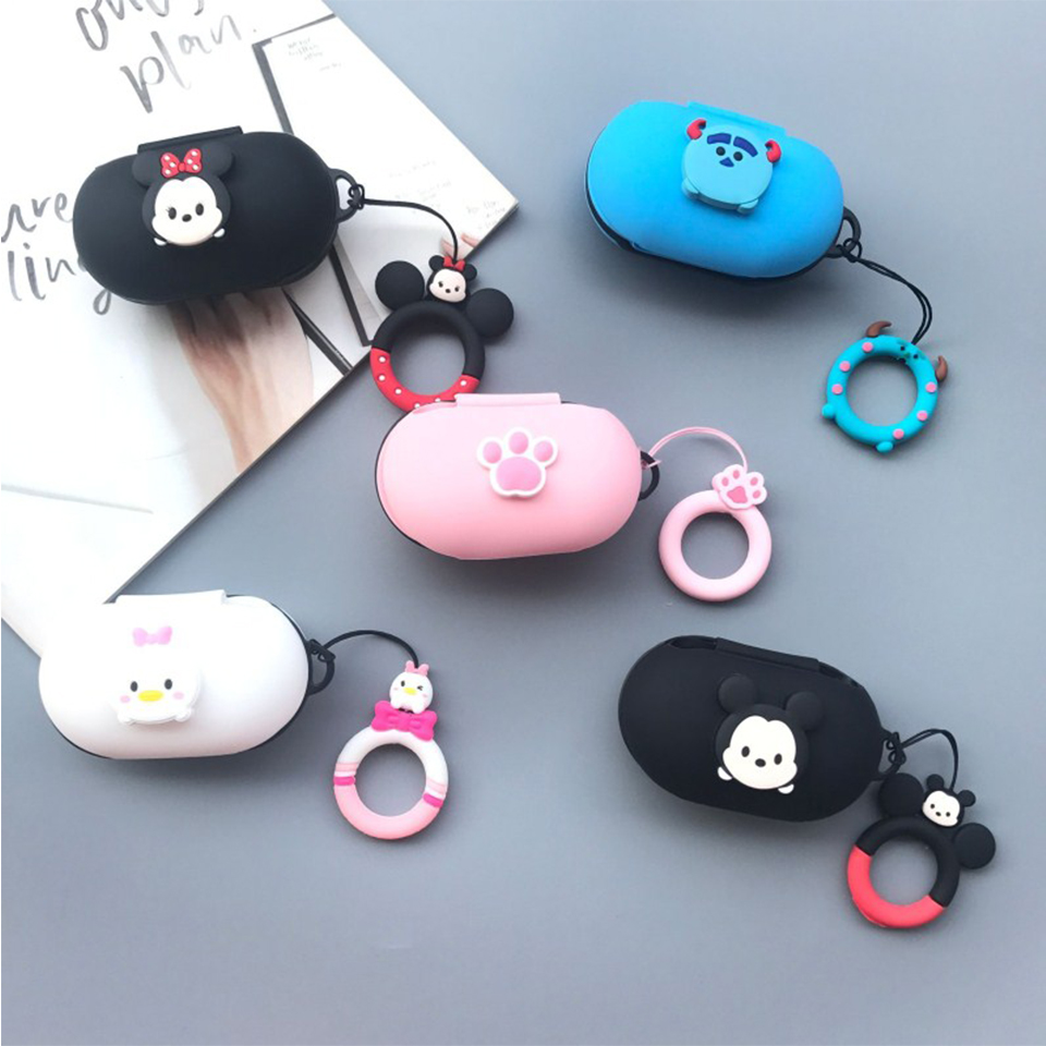 Cute Cartoon Silicon Cover For Samsung Galaxy Buds 2019 Case Bluetooth Headset Charging Cover Wireless Headphone Skin Shockproof