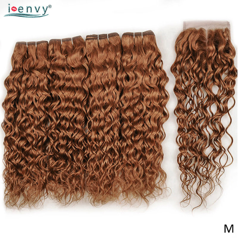 Ginger Blonde Water Wave Bundles With Closure Human Hair Colored 4 Bundles With 4*4 Lace Closure Brazilian Hair Weave Non-Remy