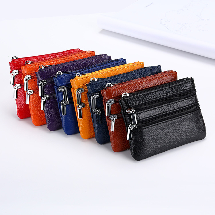 Europe And America Hot Selling Genuine Leather Purse Women's Coins Storgage Bag Embossed Leather Zipper Key Multi-functional Wal