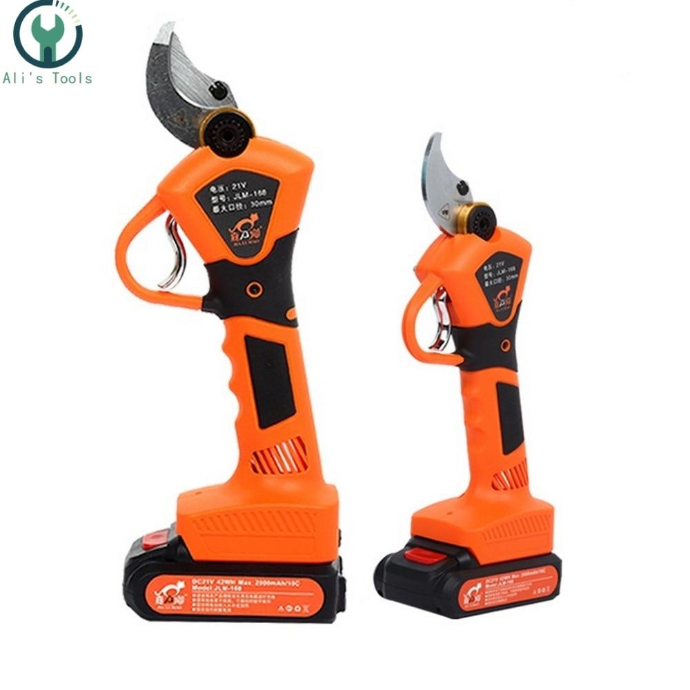 21V Li Battery Rechargeable Electric Pruning Scissors Cordless Pruning Shears Garden Pruner Secateur Branch Cutter Cutting Tool