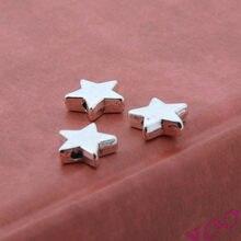 Colar prata cor estrela 50 peças, encantos gota dupla face pingente pulseira colares suprimentos de jóias a3336