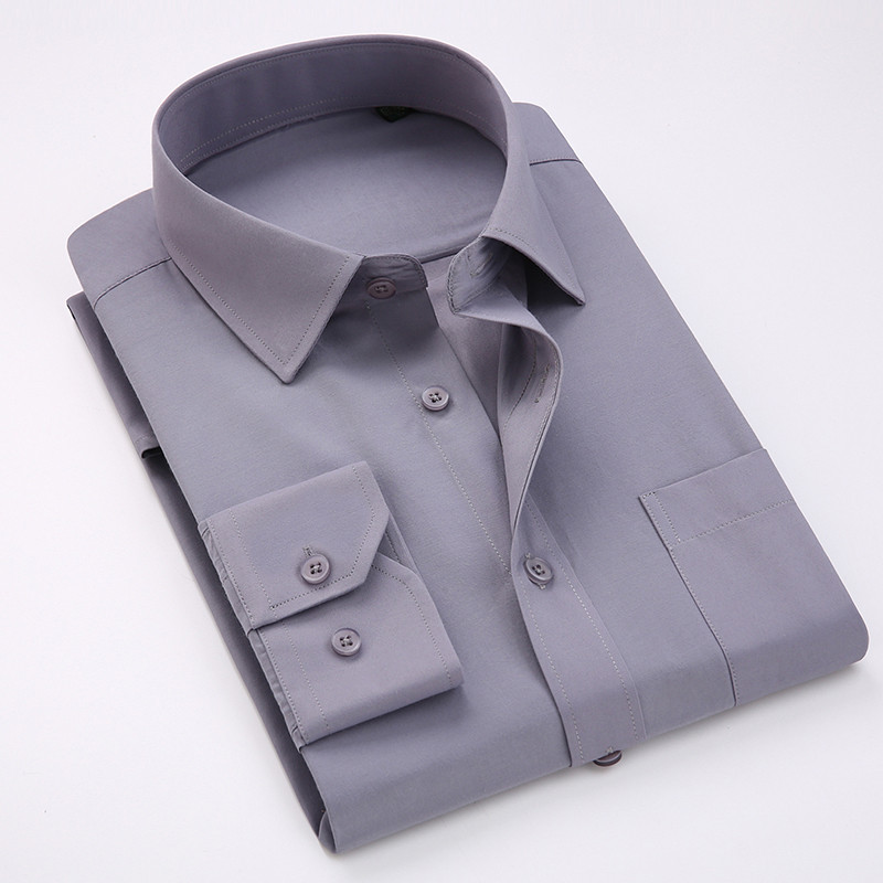 Comfortable  Business  Men's Solid Plain Dress Shirts Long Sleeve Square Collar Regular Fit Male Social Shirt
