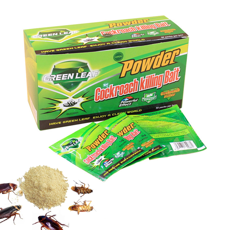 50Pcs/lot  Effective Bait Powder Pest Control Product Cockroach Repeller Killing Green Leaf Bait Russian Roach Insecticide Hot