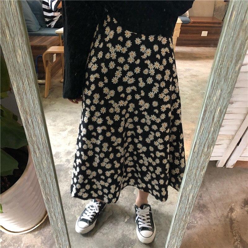 Vintage Floral Print Ruffle Pleated Long Skirts Summer Women Korean Skirt Streetwear Drawstring Elastic Waist Midi Skirt S-xxl