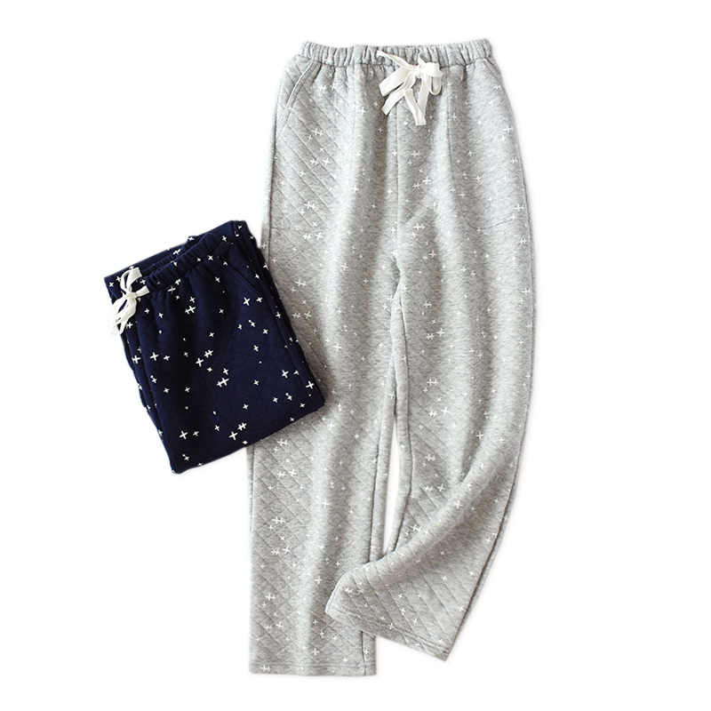 Winter Sexy Stars Mens Sleep Bottoms Night Trousers Male Indoor Pants 100% Cotton Scuba Fabric Warmth Home Trousers Sleep Pants